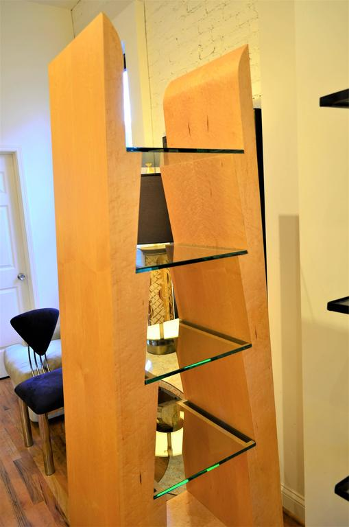 American Modern Birdseye Maple and Glass Bookcase For Sale