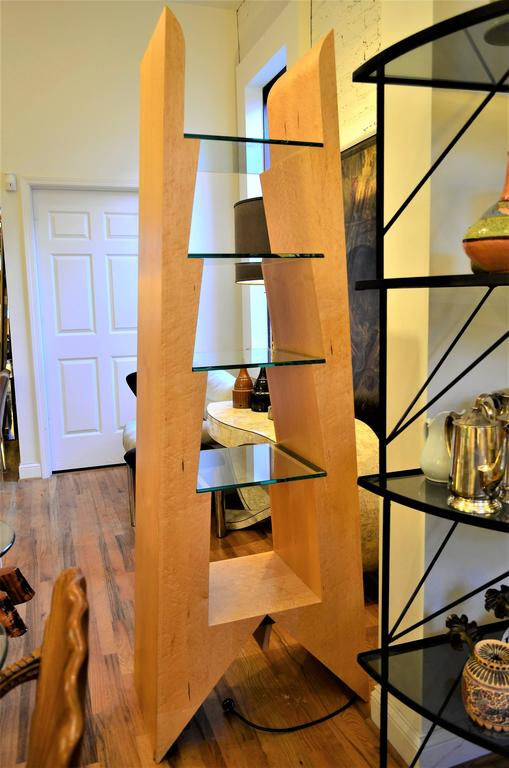 Modern Birdseye Maple and Glass Bookcase In Good Condition For Sale In Chicago, IL