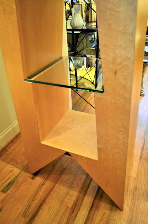 Late 20th Century Modern Birdseye Maple and Glass Bookcase For Sale