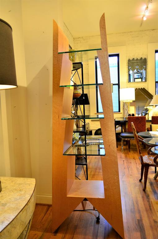 Modern Birdseye Maple and Glass Bookcase For Sale 1