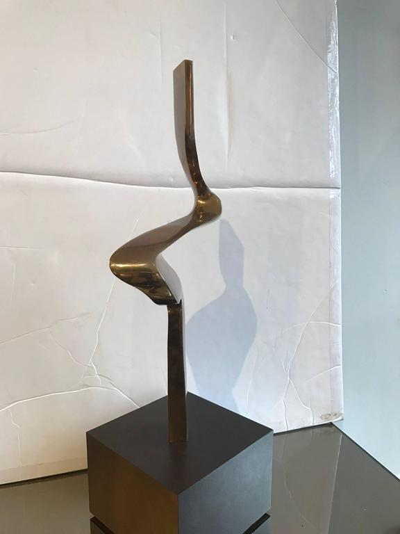 Fantastic Mid-Century abstract bronze sculpture by Chicago artist Joseph A. Burlini. Great form and powerful from all angles. Highly sculptural decorative tabletop object.