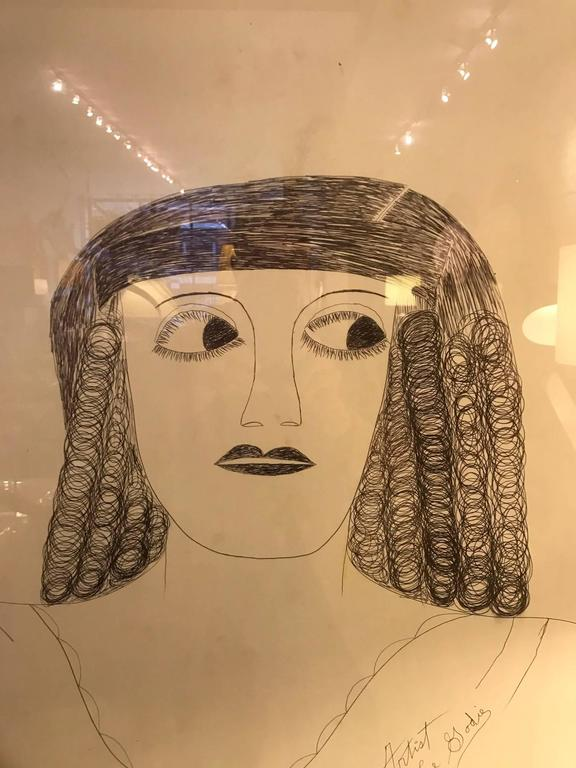 American Lee Godie Outsider Art Ink Portrait  For Sale