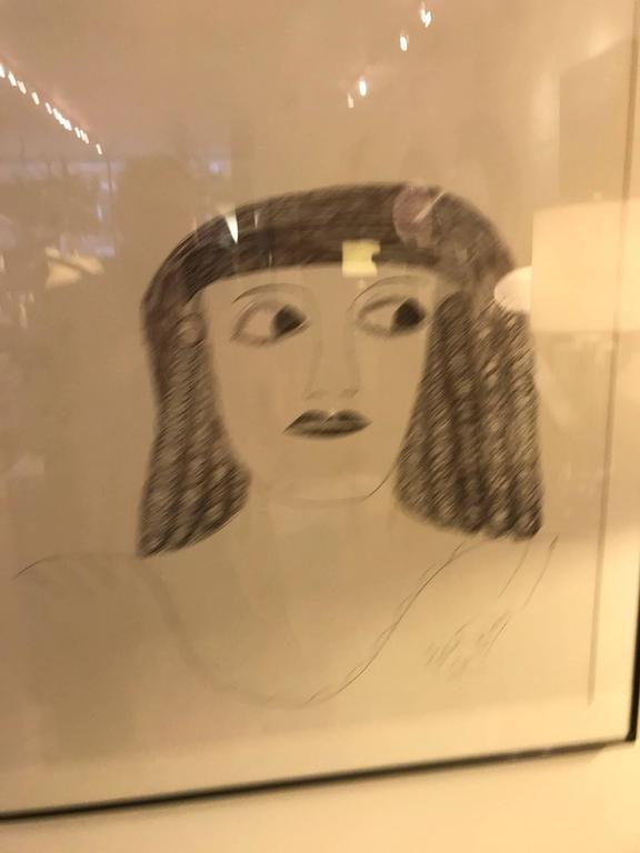 Painted Lee Godie Outsider Art Ink Portrait  For Sale