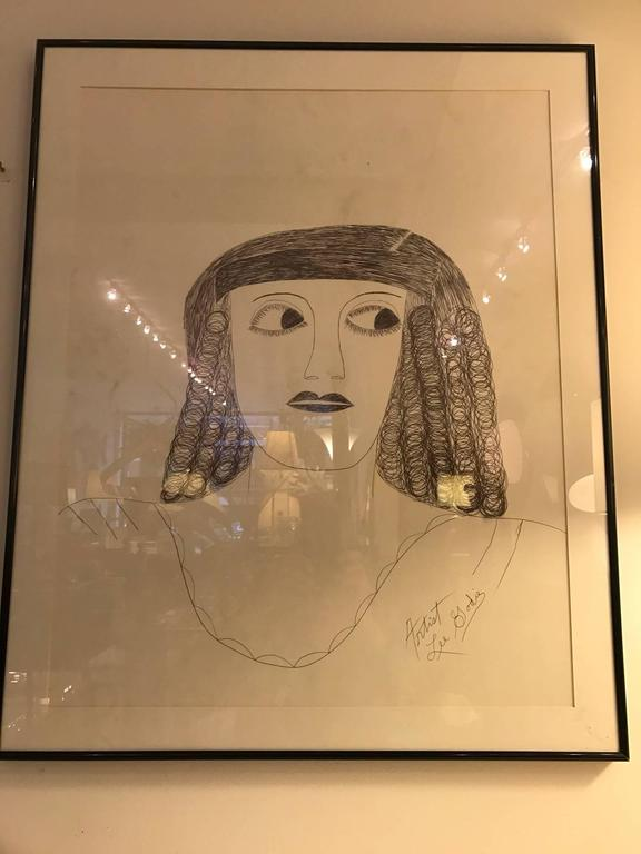 Lee Godie Outsider Art Ink Portrait  In Good Condition For Sale In Chicago, IL