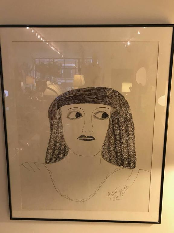 20th Century Lee Godie Outsider Art Ink Portrait  For Sale