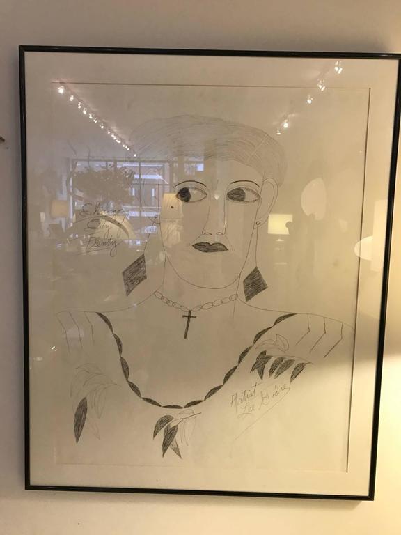 Paper Lee Godie Outsider Art Ink Portrait  For Sale