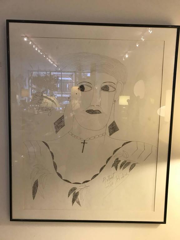 Lee Godie Outsider Art Ink Portrait  For Sale 1