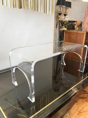 Thick Waterfall Lucite Coffee Table in the manner of Charles Hollis Jones