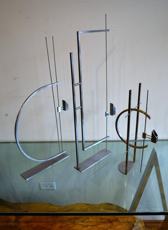 Mid-Century Modern Set of Three David Zelman Decorative Sculptural Candle Holders For Sale