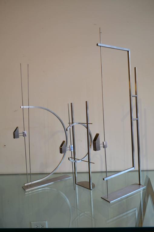 Metal Set of Three David Zelman Decorative Sculptural Candle Holders For Sale
