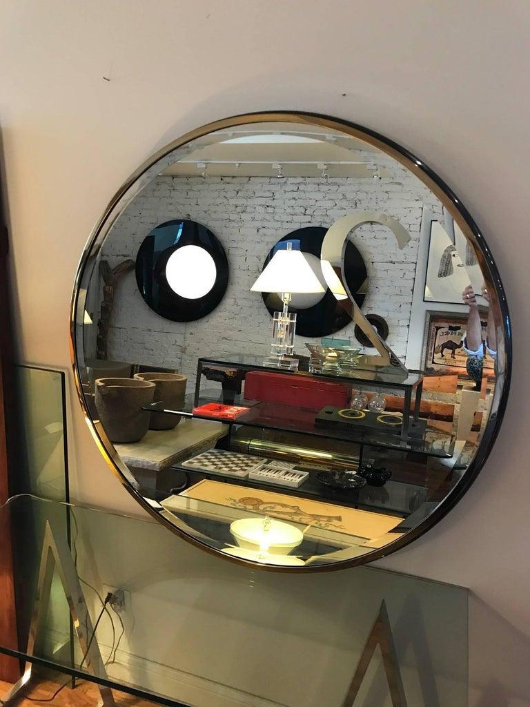 Modern Large Round Gunmetal and Brass Mirror by Brueton For Sale