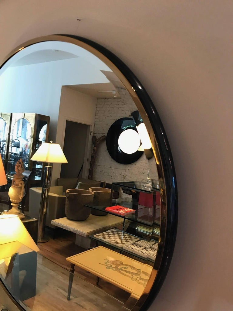 Large Round Gunmetal and Brass Mirror by Brueton In Good Condition For Sale In Chicago, IL