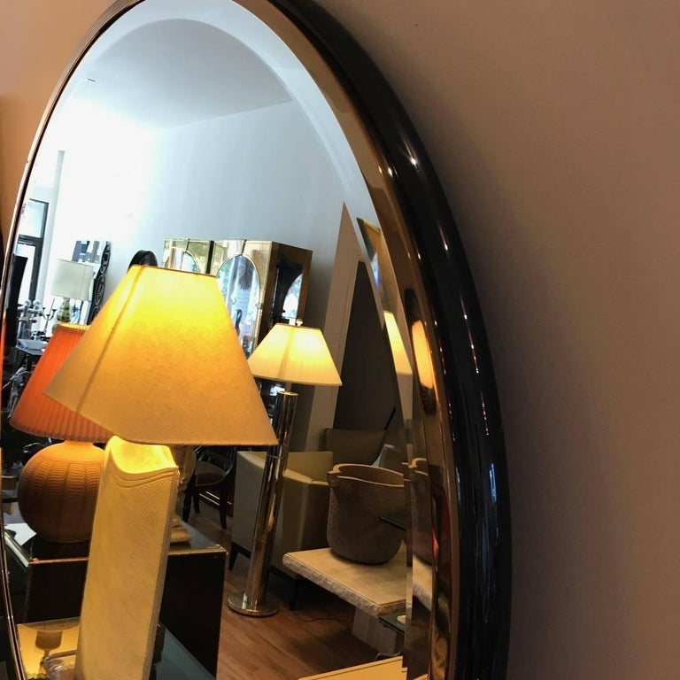 Late 20th Century Large Round Gunmetal and Brass Mirror by Brueton For Sale