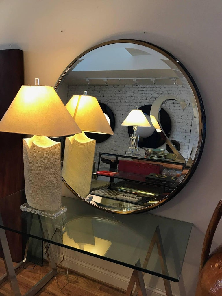Large Round Gunmetal and Brass Mirror by Brueton For Sale 1