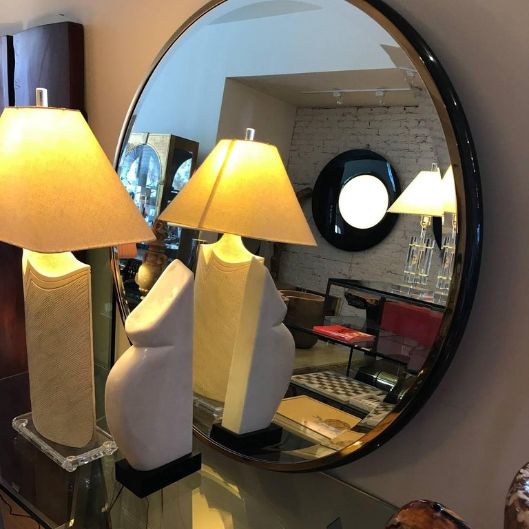 Large Round Gunmetal and Brass Mirror by Brueton For Sale 3