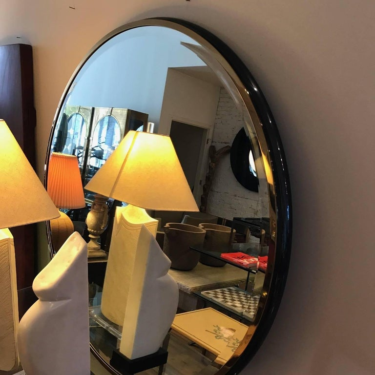 Large Round Gunmetal and Brass Mirror by Brueton For Sale 4
