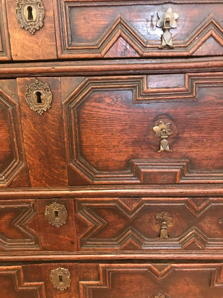 Charles II English Oak Chest of Drawers For Sale 4