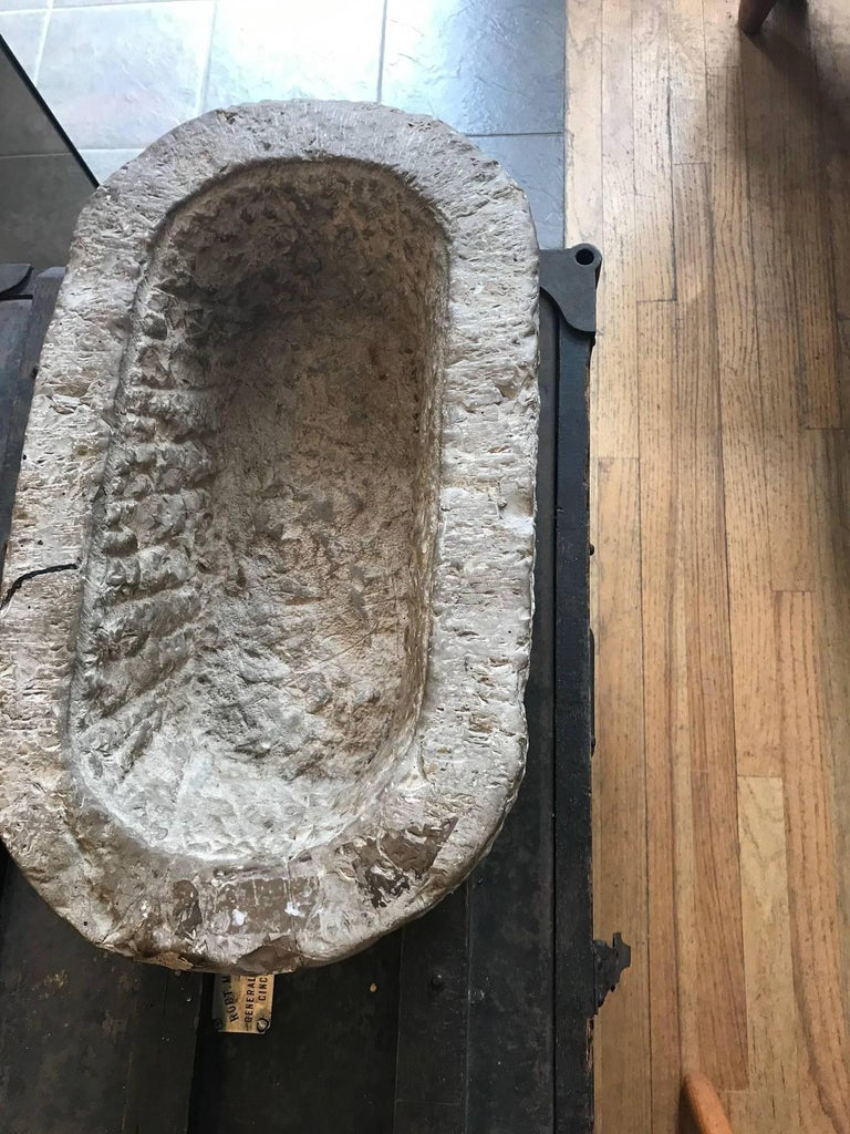 Folk Art Chinese Oval Stone Mortar Trough For Sale