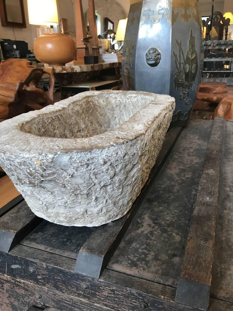 19th Century Chinese Oval Stone Mortar Trough For Sale