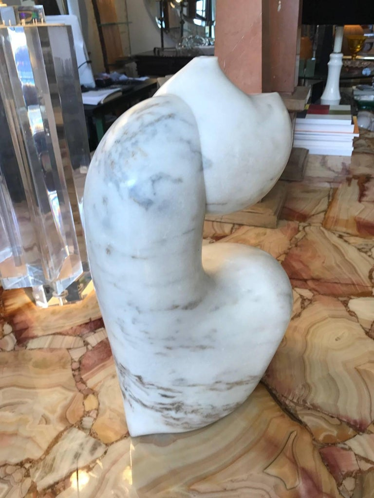 Italian  Abstract Biomorphic White Marble Sculpture by Mario Denoto For Sale
