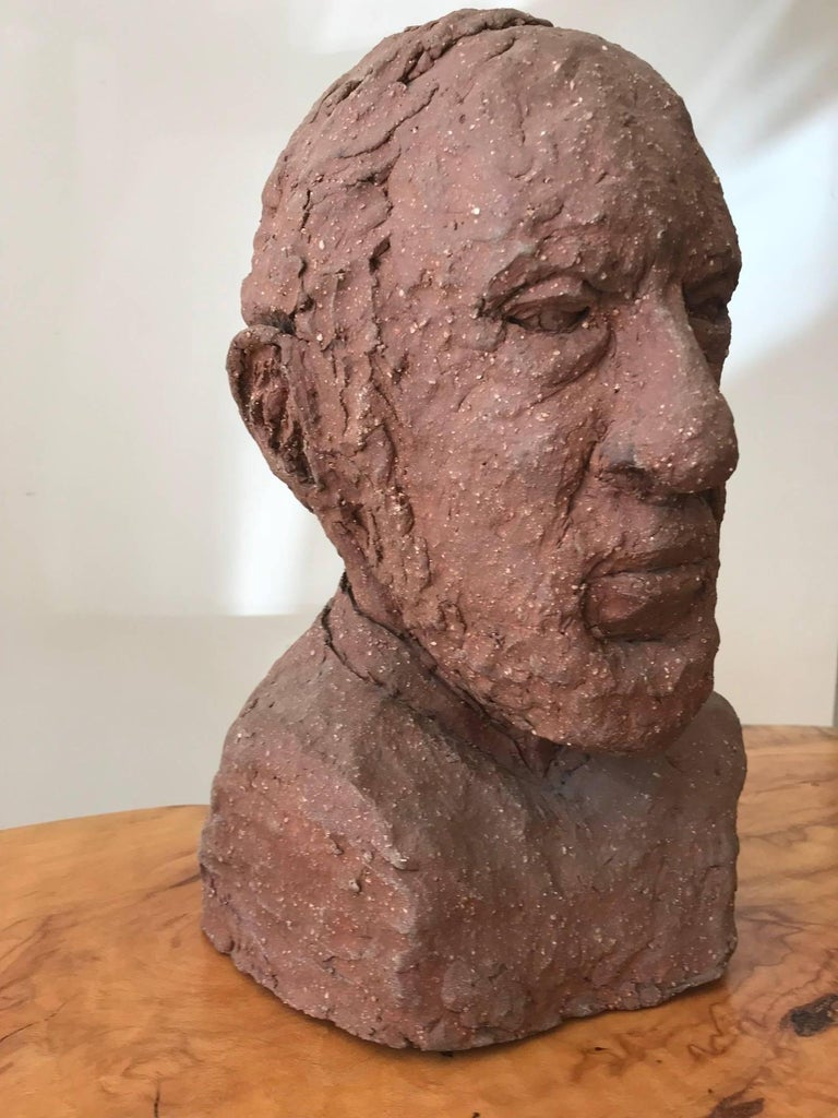 Mid-Century Modern Midcentury Terracotta Bust of a Man by Joyce Pines For Sale