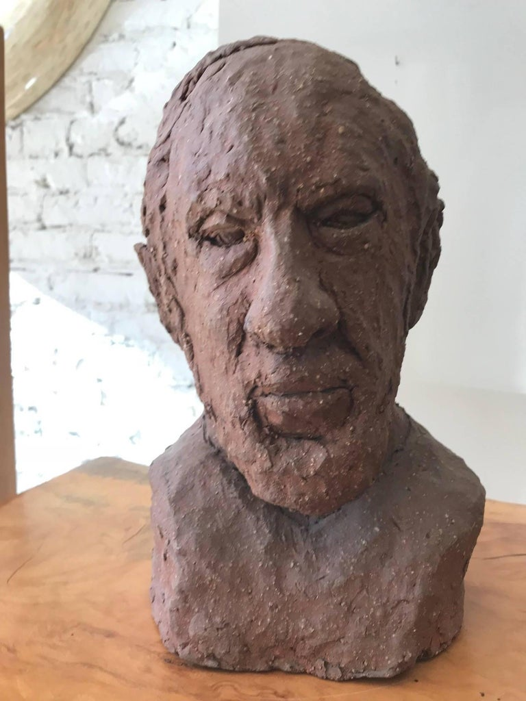 American Midcentury Terracotta Bust of a Man by Joyce Pines For Sale