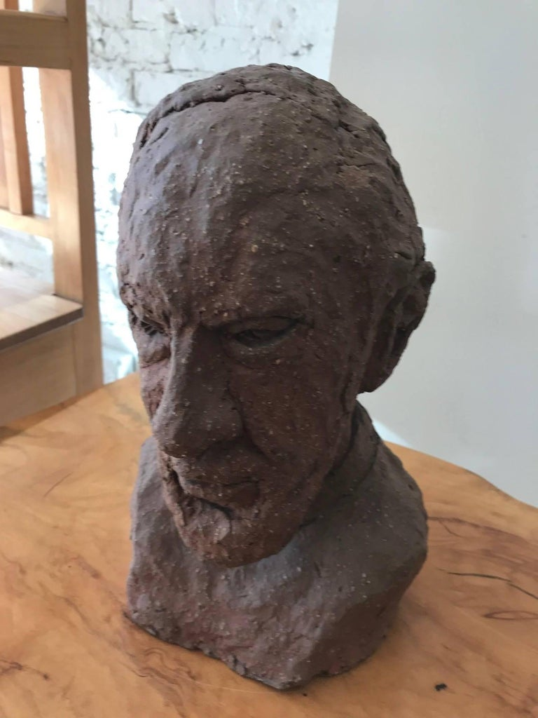 Unglazed Midcentury Terracotta Bust of a Man by Joyce Pines For Sale