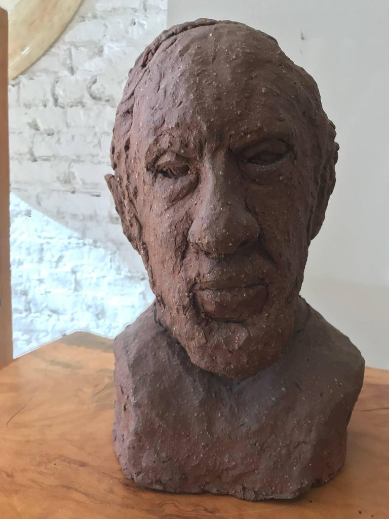 Midcentury Terracotta Bust of a Man by Joyce Pines In Good Condition For Sale In Chicago, IL
