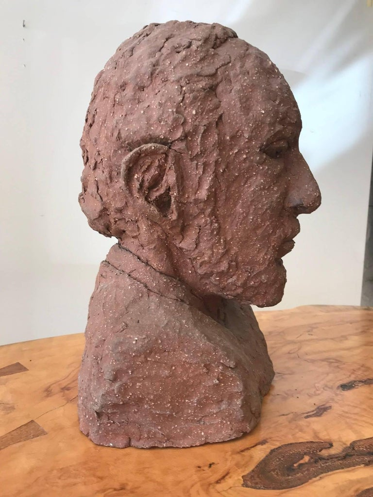 Late 20th Century Midcentury Terracotta Bust of a Man by Joyce Pines For Sale