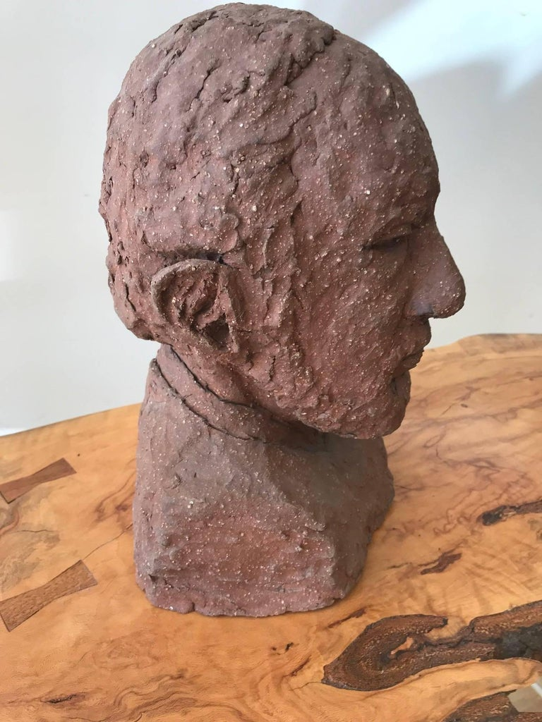 Midcentury Terracotta Bust of a Man by Joyce Pines For Sale 1