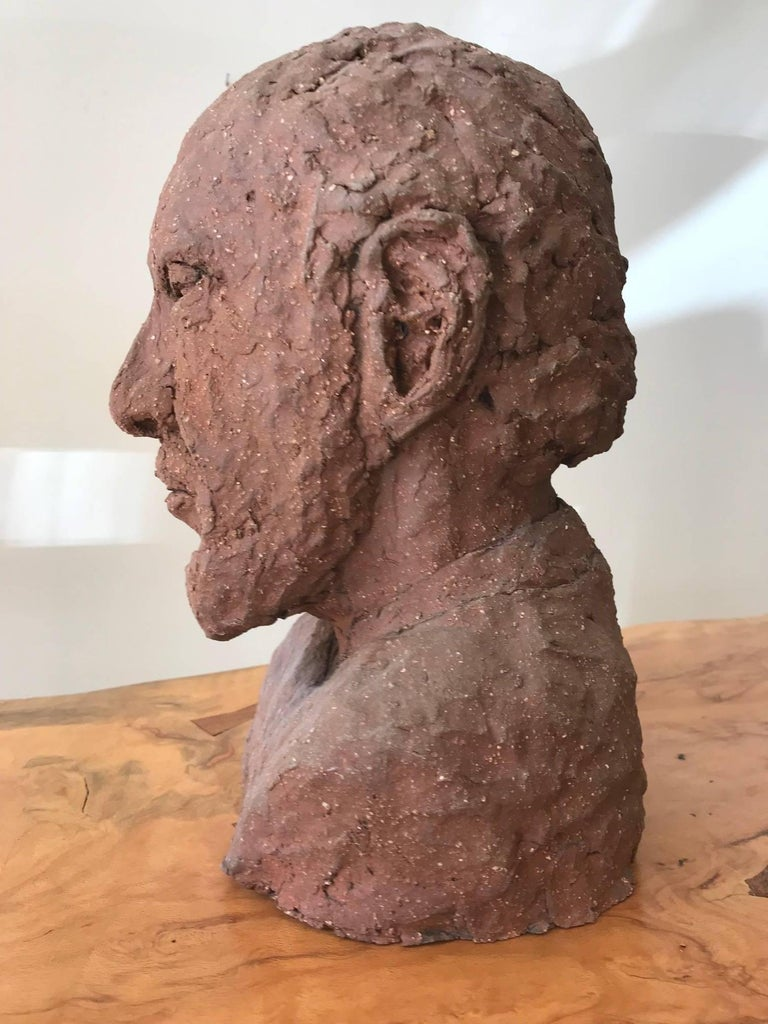 Midcentury Terracotta Bust of a Man by Joyce Pines For Sale 2