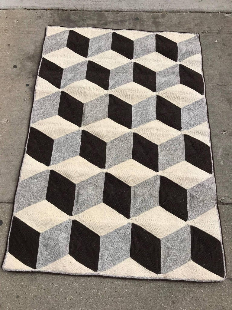 Mid-Century Modern Graphic Tumbling Blocks Woven Jute Wall Hanging or Flat Weave Rug For Sale