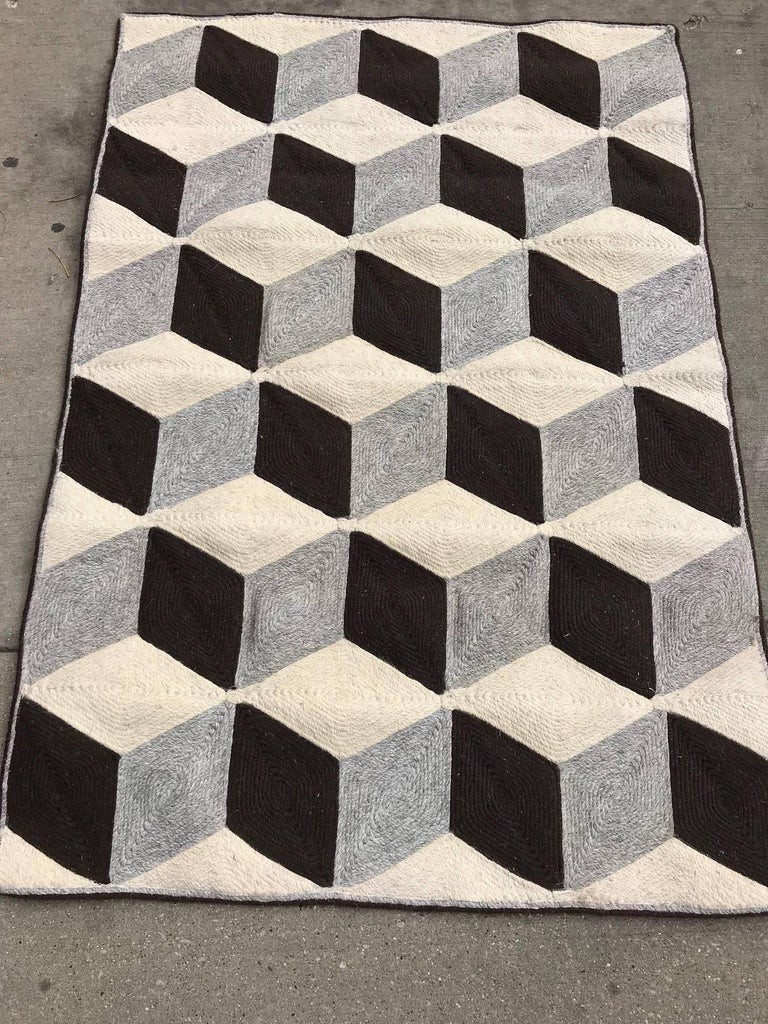 Indian Graphic Tumbling Blocks Woven Jute Wall Hanging or Flat Weave Rug For Sale