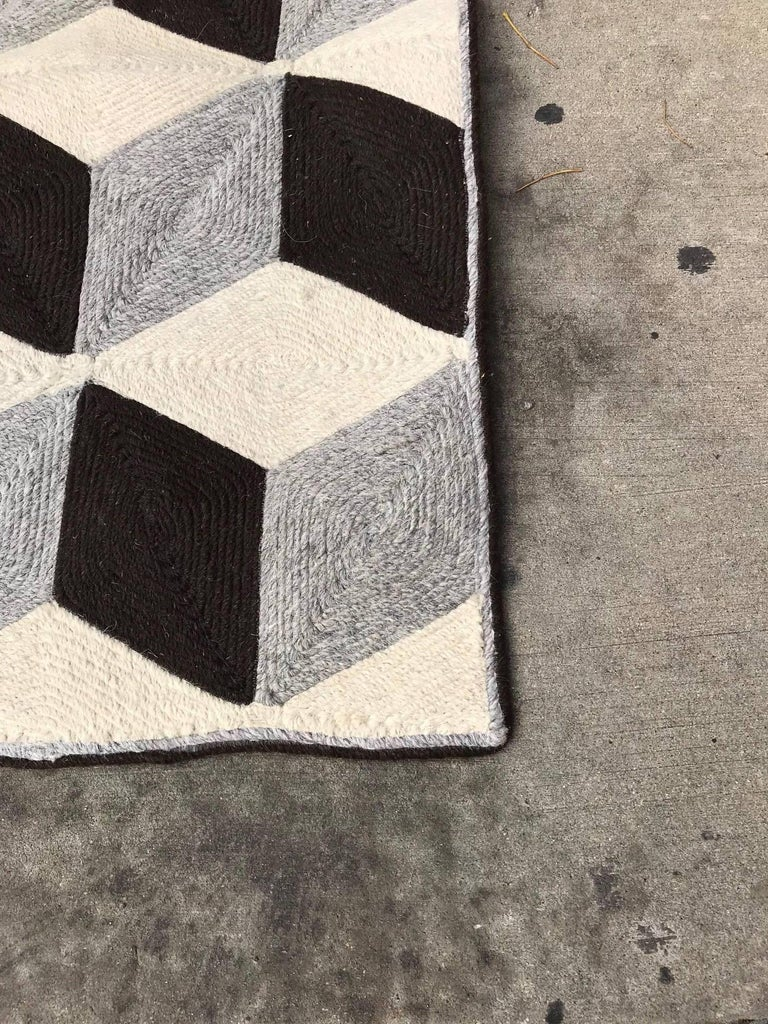 Graphic Tumbling Blocks Woven Jute Wall Hanging or Flat Weave Rug For Sale 2