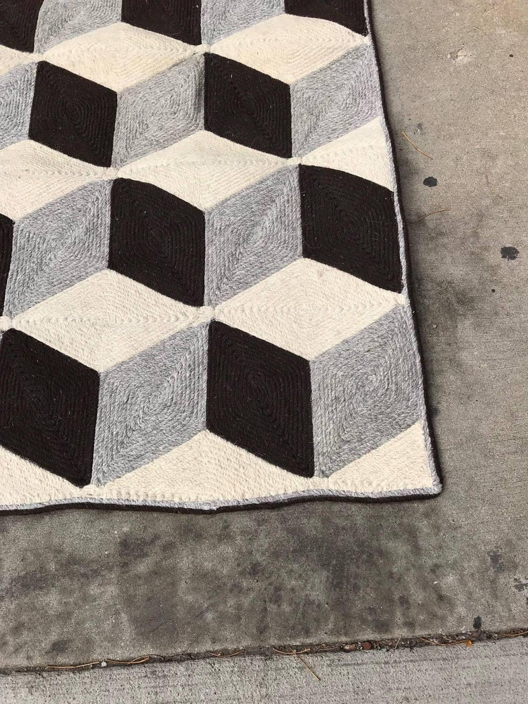 Graphic Tumbling Blocks Woven Jute Wall Hanging or Flat Weave Rug For Sale 3