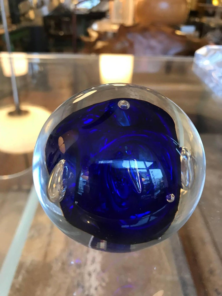 Blown Glass Murano Art Glass Round Paperweight with Cobalt Blue Inclusions For Sale