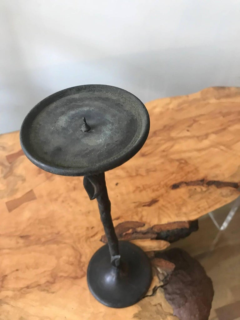 Hammered Giacometti Style Hand-Wrought Bronze Candleholder For Sale