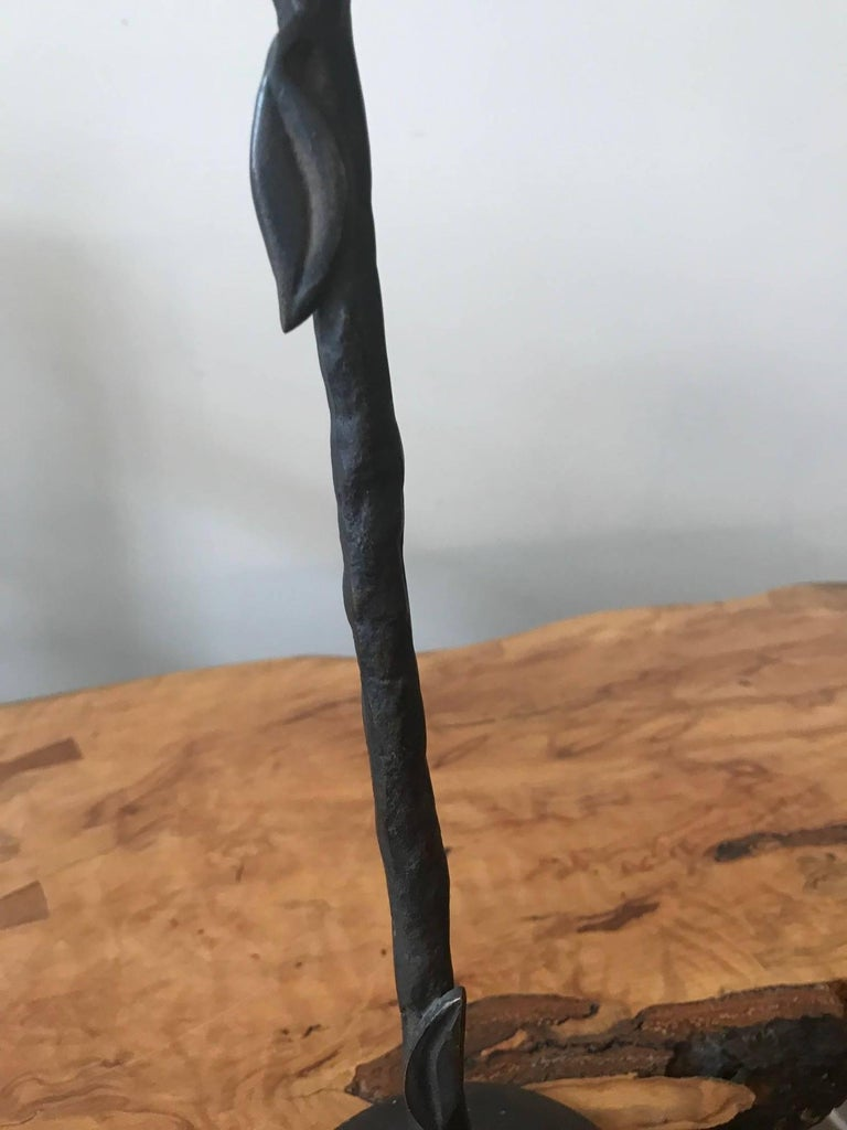 Giacometti Style Hand-Wrought Bronze Candleholder In Good Condition For Sale In Chicago, IL