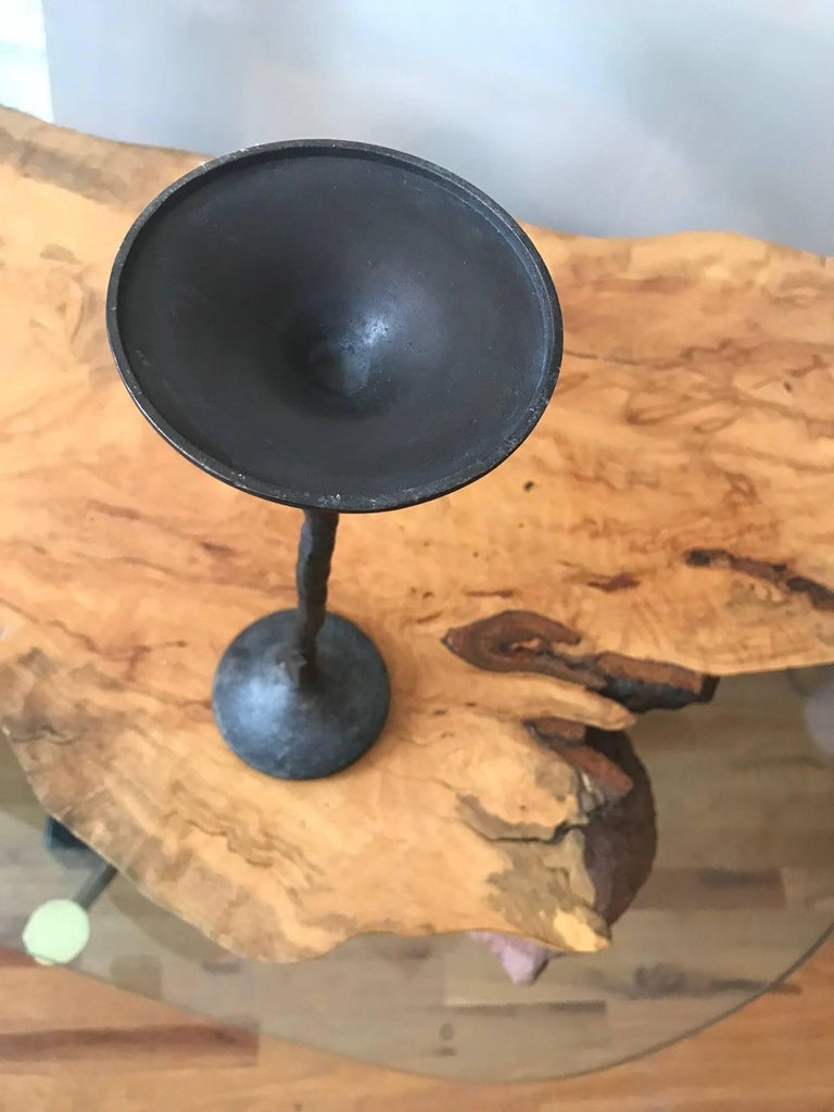 Giacometti Style Hand-Wrought Bronze Candleholder For Sale 1