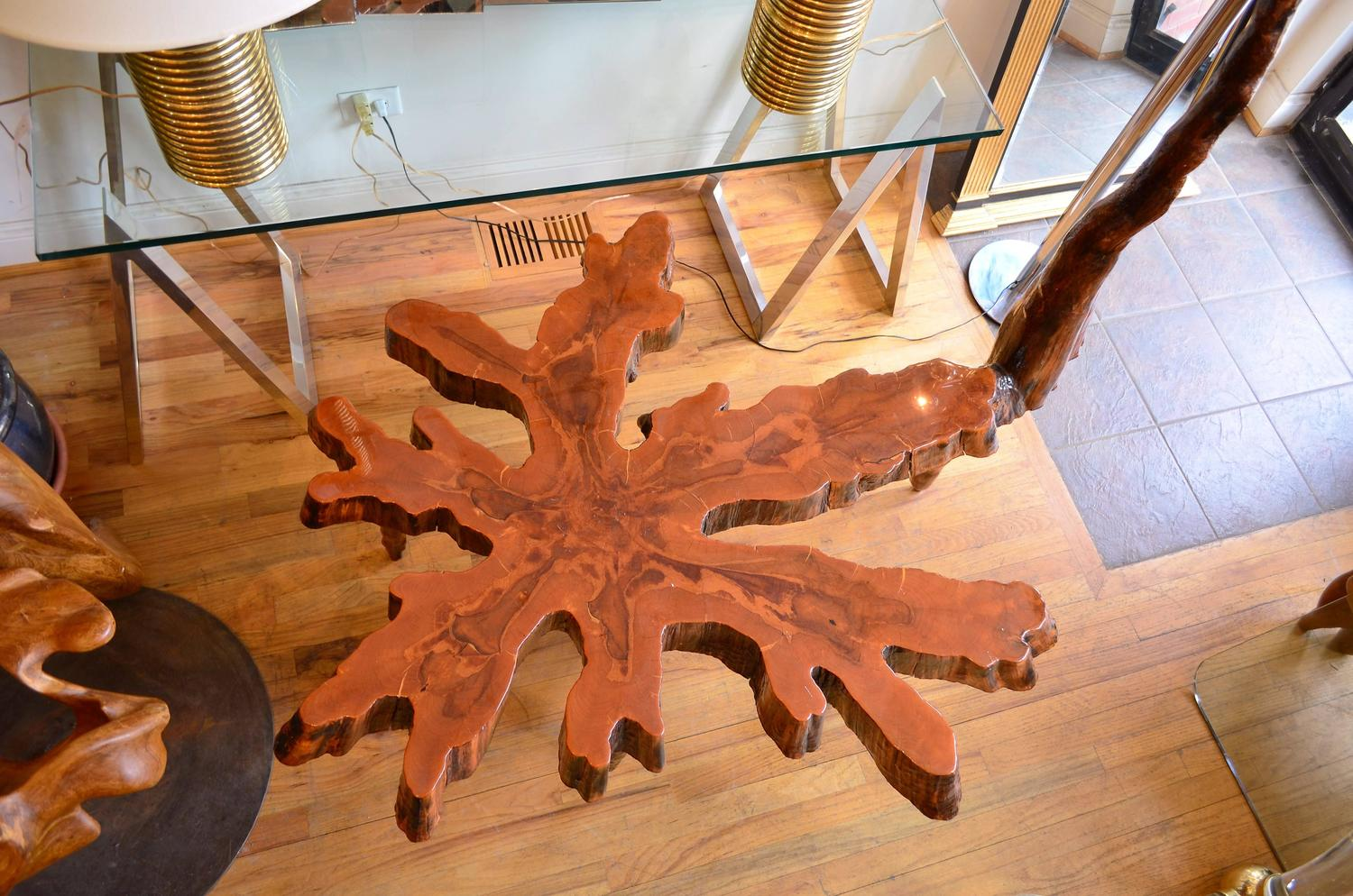 Unique Free Form Cypress Slab Coffee Table For Sale At 1stdibs