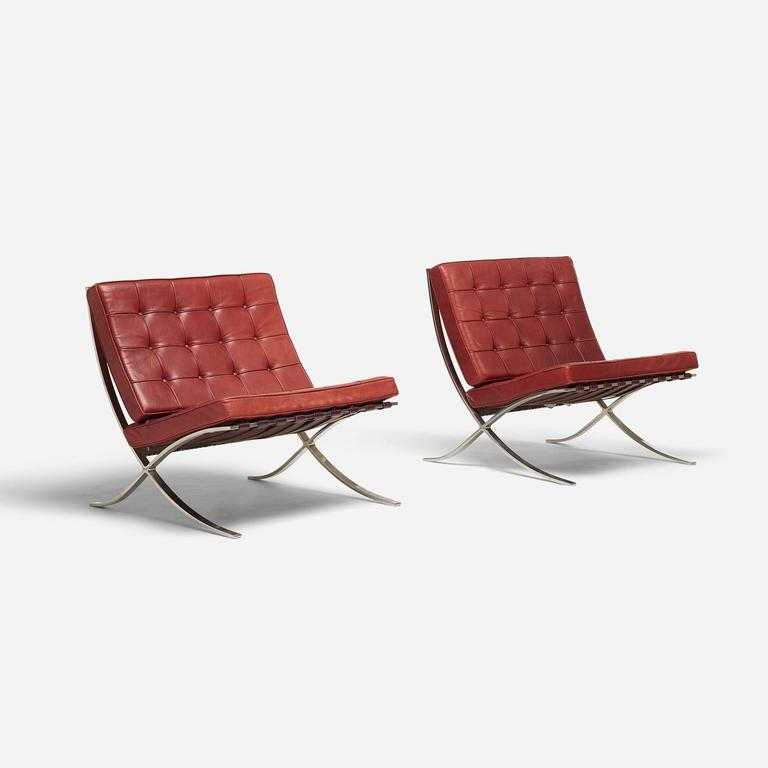 pair of barcelona chairs by ludwig mies van der rohe for. Black Bedroom Furniture Sets. Home Design Ideas