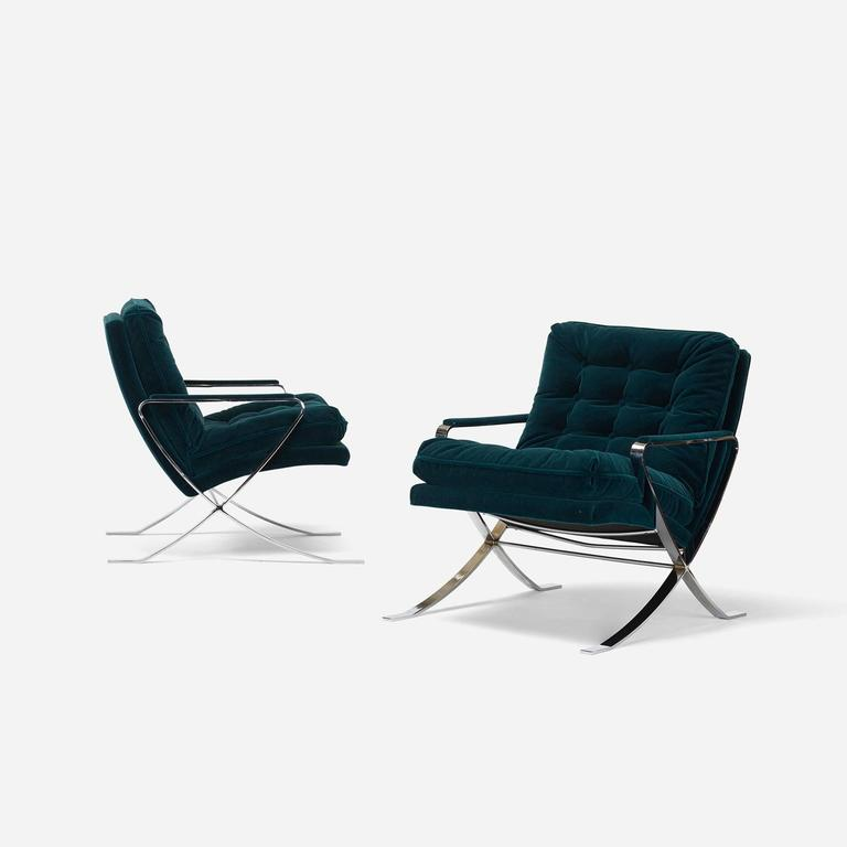 Mid-Century Modern Pair of Lounge Chairs by Bernhardt Furniture Co For Sale