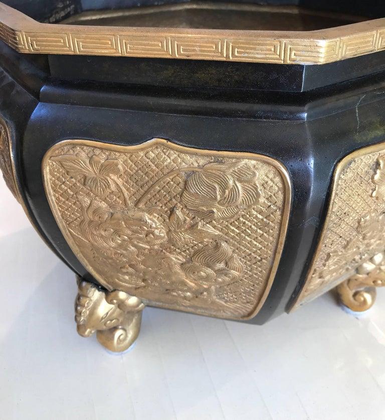 Japanese Fabulous Bronze and Gilt Jardinière For Sale
