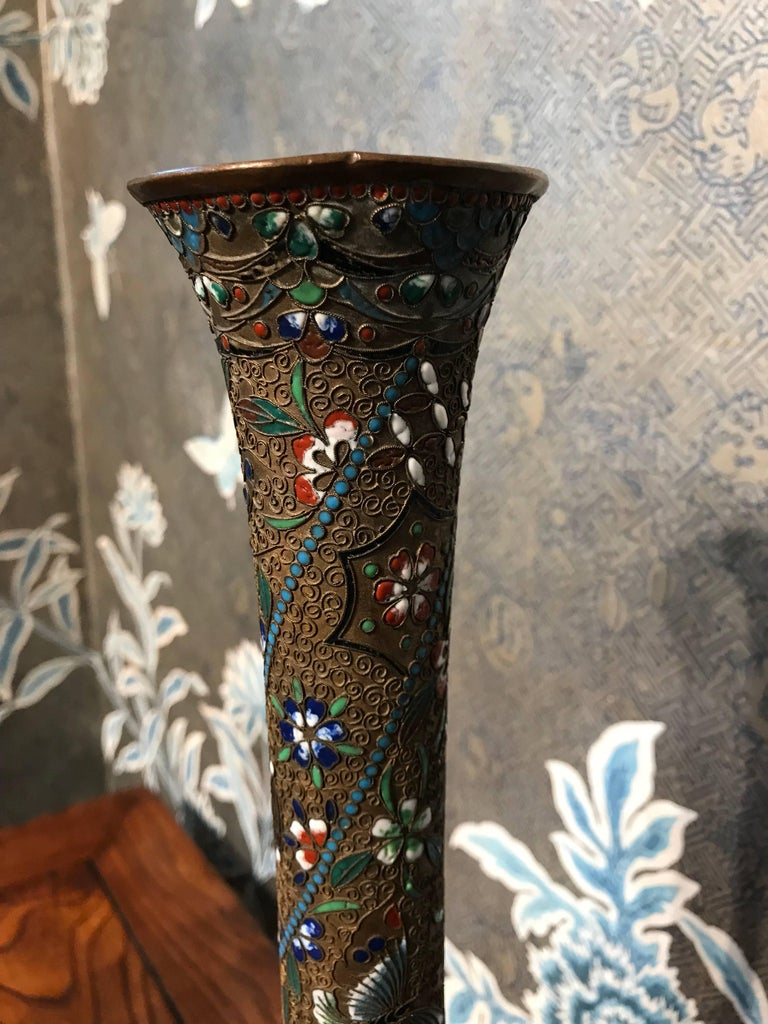 Enameled Pair of Graceful Japanese Metal and Enamel Vases For Sale
