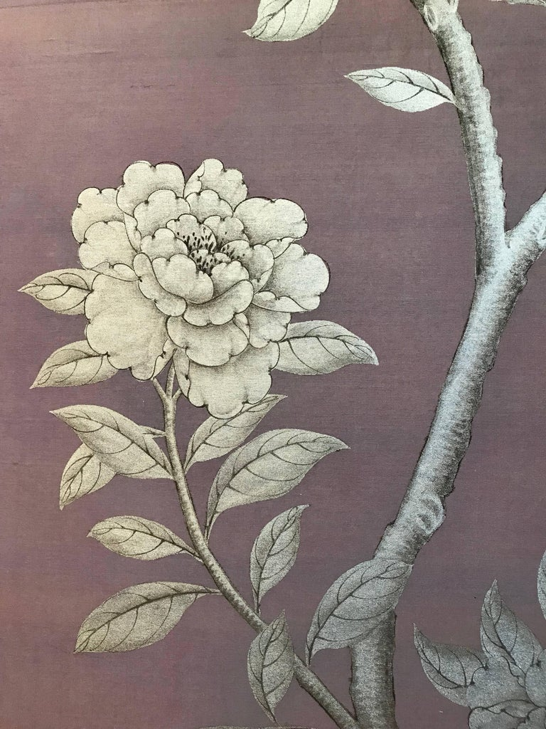 Chinese Gracie Silk Hand-Painted Screen with Silver Design For Sale
