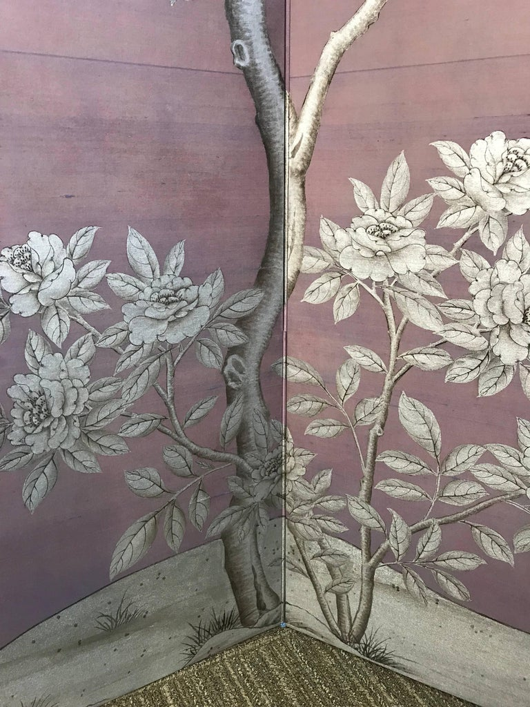 Contemporary Gracie Silk Hand-Painted Screen with Silver Design For Sale