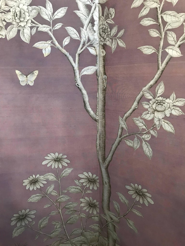 Gracie Silk Hand-Painted Screen with Silver Design For Sale 1