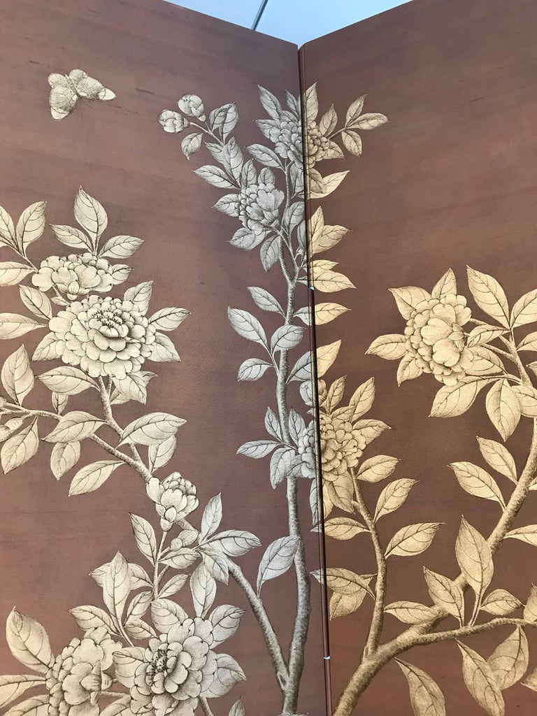 Gracie Silk Hand-Painted Screen with Silver Design For Sale 2