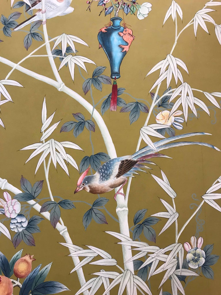 Vintage 1970s Hand-Painted Wallpaper In Good Condition For Sale In New York, NY