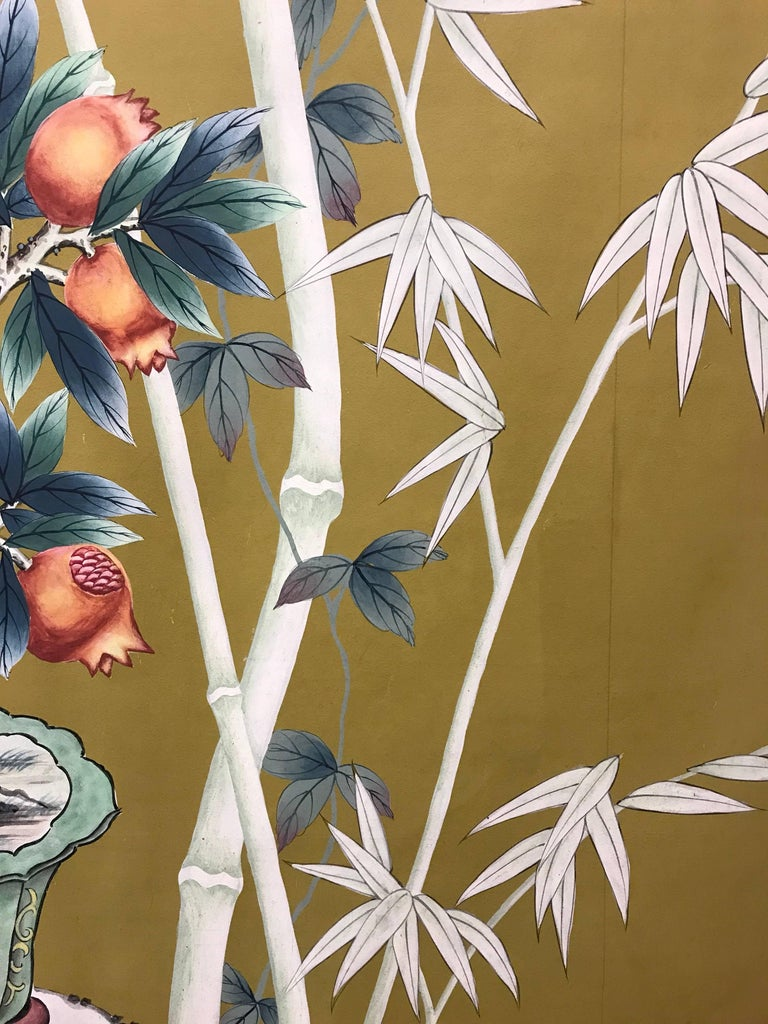 Late 20th Century Vintage 1970s Hand-Painted Wallpaper For Sale